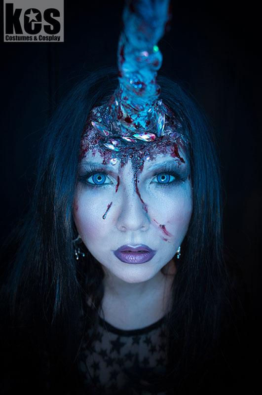 Halloween make-up idea unicorn undead gore